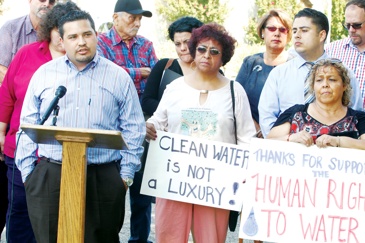 A bipartisan coalition holds press conference over drinking water standards and SB623