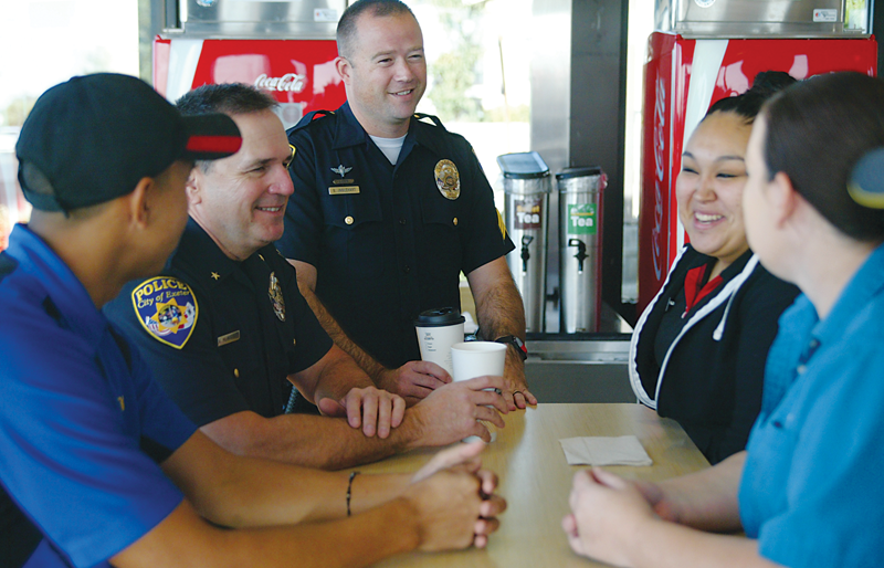 5 Exeter officers talk with residents for Coffee with a Cop Day on Oct. 4