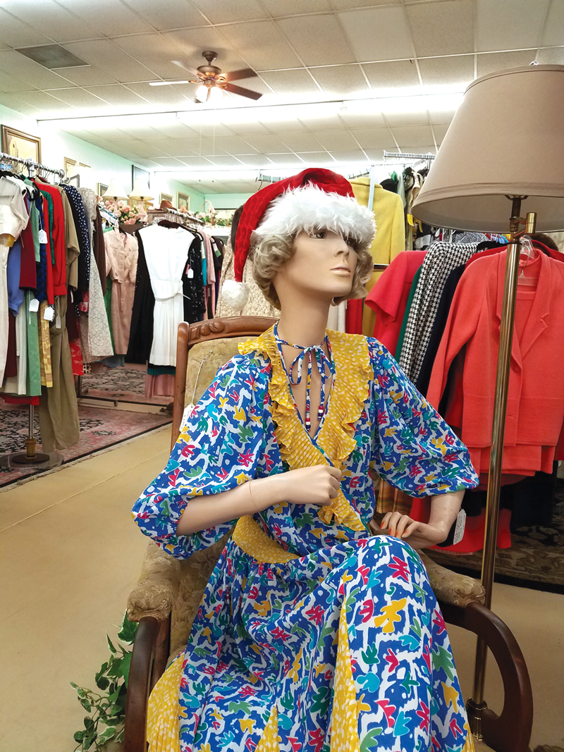 A mannequin at Exeter's Lamplighter Mercantile dons a festive Santa hat  right in time for the