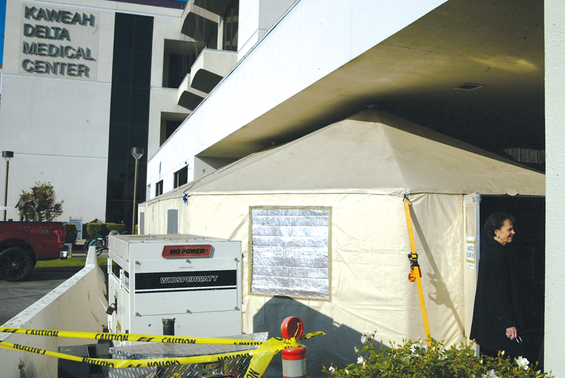 Kaweah Delta erects tent structure outside of the Emergency Dept. to combat overcrowding during flu season