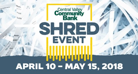 Central Valley Community Bank holds 12th annual free document shredding event between April 10 and May 15, highlights threat of theft