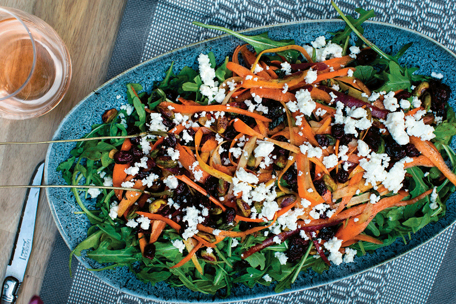 Trendy Tastes: Recipe for Shaved Carrot Salad with Pomegranate Harissa Dressing