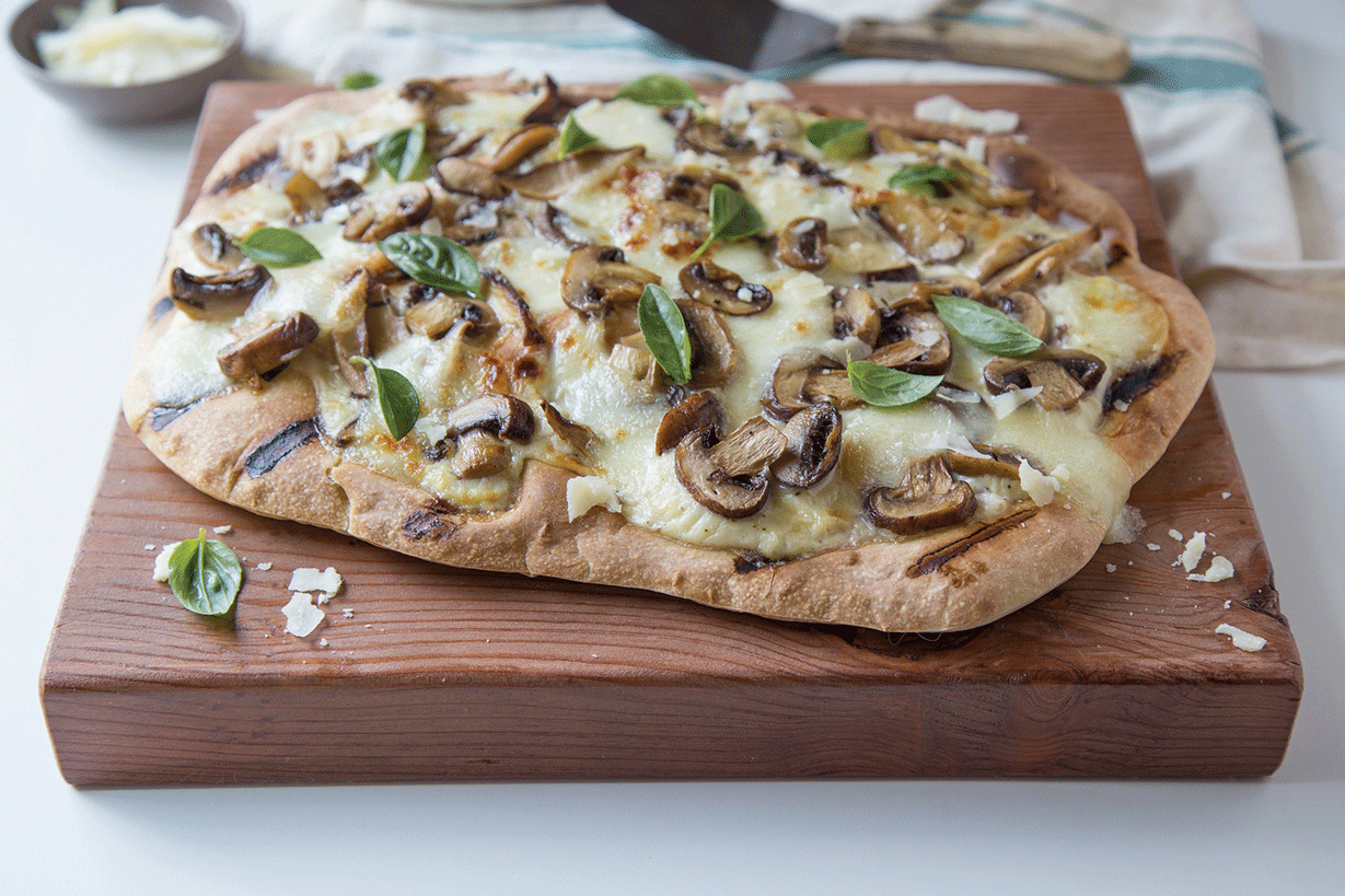 Sustainable Eating Recipe: Three Mushroom and Garlic Grilled Pizza