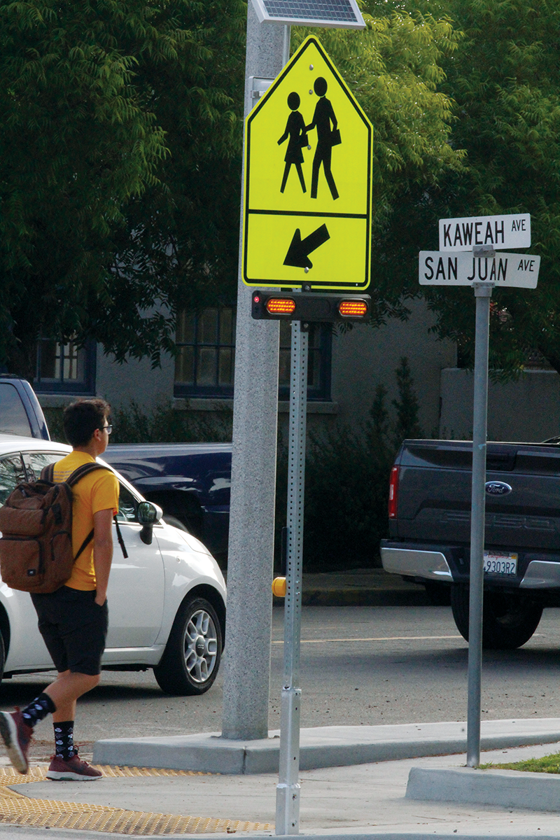 Exeter High School installs blinking crosswalk signs for students crossing Highway 65